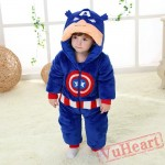 Captain America Super Hero Kigurumi Onesies Pajamas Costumes Winter for Baby