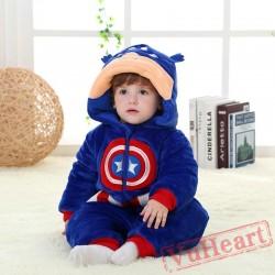 Captain America Super Hero Kigurumi Onesies Pajamas Costumes Winter for Baby