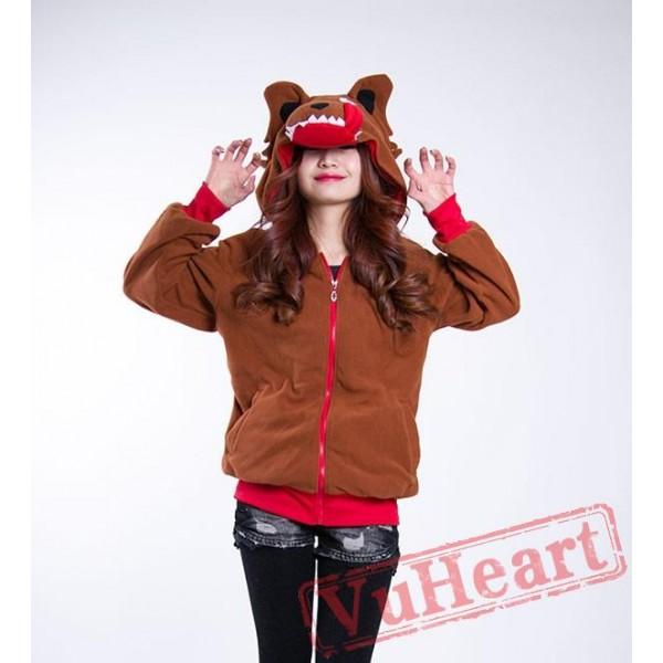 Cartoon Brown Wolf Long Sleeve Hoddie Partywear Cosplay Costume