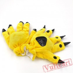 Unisex Onesies Warm Plush Yellow H&s Claw Paw Furry gloves Kigurumi