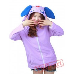 Purple Espeon Long Sleeve Cartoon Kigurumi Cotton Hoodie Coat Jacket