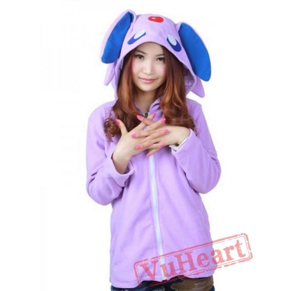 Purple Espeon Long Sleeve Cartoon Kigurumi Cotton Hoodie Coat Jacket