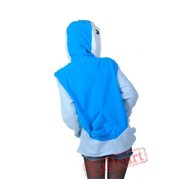 Blue Penguin Long Sleeve Cartoon Kigurumi Hoodie Coat Jacket