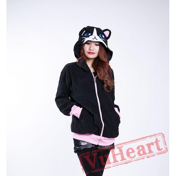Black Cat Long Sleeve Cartoon Kigurumi Hoodie Coat Jacket