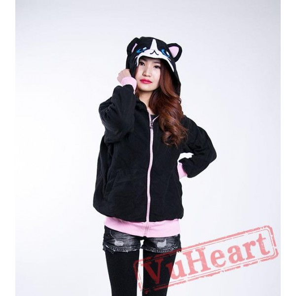Black Cat Long Sleeve Cartoon Kigurumi Hoodie Coat Jacket
