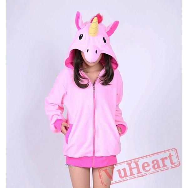 Pink Unicorn Cartoon Zip-up Hoodie Cosplay Costume Long Sleeve
