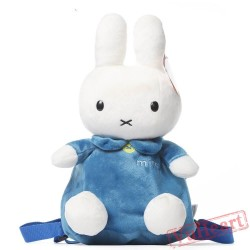 Blue Miffy Rabbit Bunny Kids Children Cartoon School Bags Backpacks