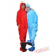 Red Cookie Monster Kigurumi Onesies Pajamas Costumes for Women & Men