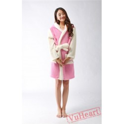 Pink Kitty Winter Warm Robe Couple Spleepwear Kigurumi Pajamas
