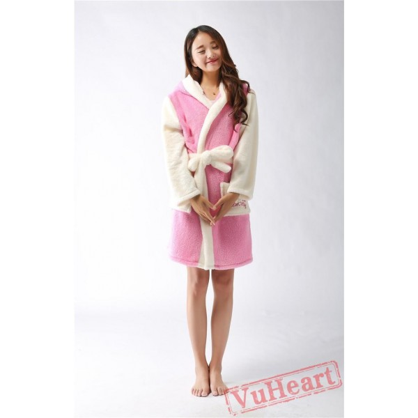 Pink Kitty Winter Warm Robe Couple Spleepwear Kigurumi Pajamas