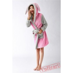 Pink Bunny Kigurumi Pajamas Winter Warm Rabbit Costume Hoodie