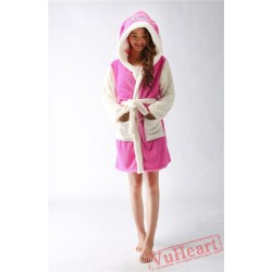 Pink Stitch Winter Warm Robe Couple Spleepwear Kigurumi Pajamas