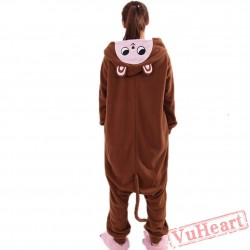 Brown Monkey Kigurumi Onesies Pajamas Costumes for Women & Men