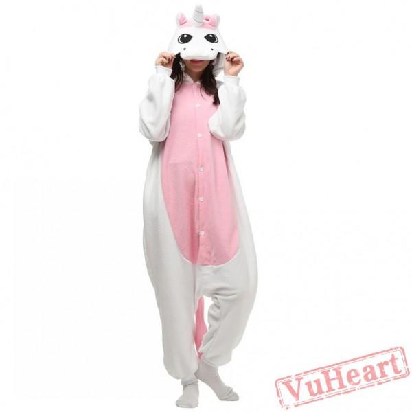 White Pink Unicorn Kigurumi Onesies Pajamas Costumes for Women & Men