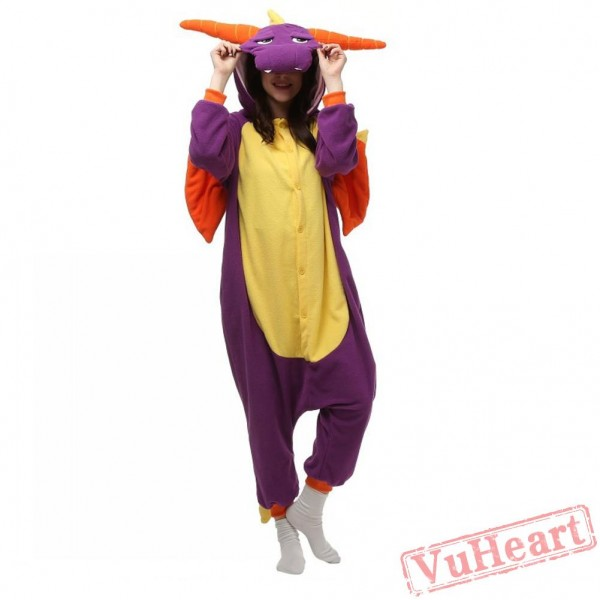 Purple Dragon Kigurumi Onesies Pajamas Costumes for Women & Men