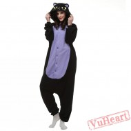 Middle Night Balck Spooky Cat Kigurumi Onesies Pajamas Costumes for Women & Men