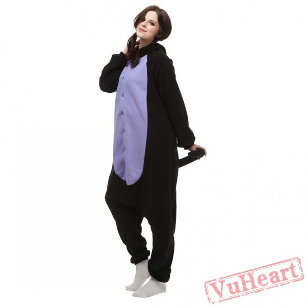Middle Night Balck Spooky Cat Kigurumi Onesies Pajamas Costumes for Women & Men