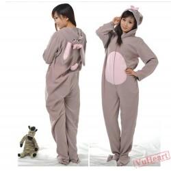 Grey Rabbit Couple Onesies / Pajamas / Costumes