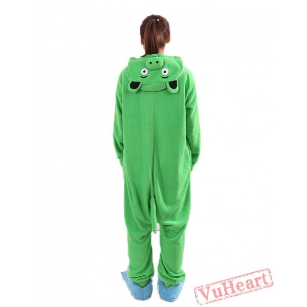 Green Paper Pig Kigurumi Onesies Pajamas Costumes for Women & Men