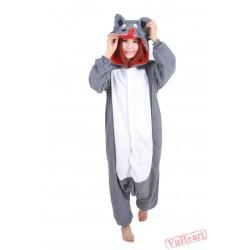 Grey Wolf Kigurumi Onesies Pajamas Costumes for Women & Men