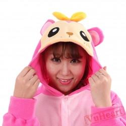 Pink Monkey Kigurumi Onesies Pajamas Costumes for Women & Men