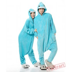 Blue Bucktooth Monster Couple Onesies / Pajamas / Costumes