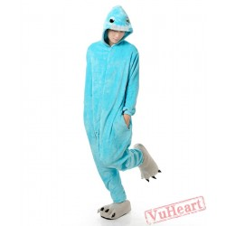 Blue Bucktooth Monster Kigurumi Onesies Pajamas Costumes for Women & Men