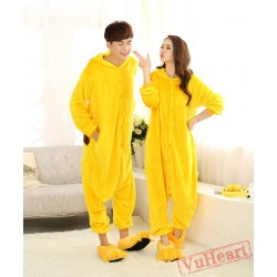 Cartoon Pikachu Kigurumi Onesies Pajamas Costumes for Women & Men