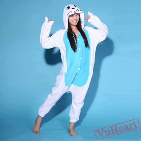 White Seal Kigurumi Onesies Pajamas Costumes for Women & Men