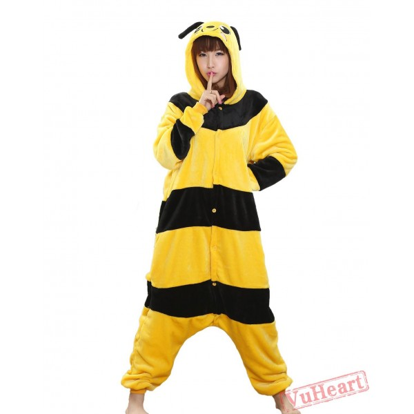 Cartoon Yellow Bee Kigurumi Onesies Pajamas Costumes for Women & Men