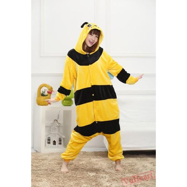 Cartoon Yellow Bee Kigurumi Onesies Pajamas Costumes for Women & Men