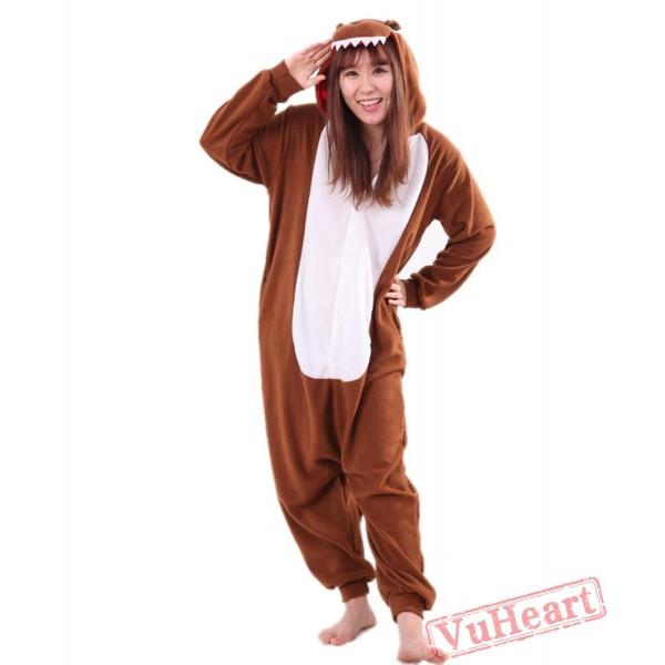 Brown Dinosaur Kigurumi Onesies Pajamas Costumes for Women & Men