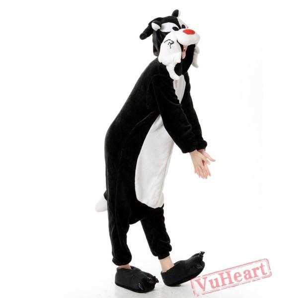Black Wolf Kigurumi Onesies Pajamas Costumes for Women & Men