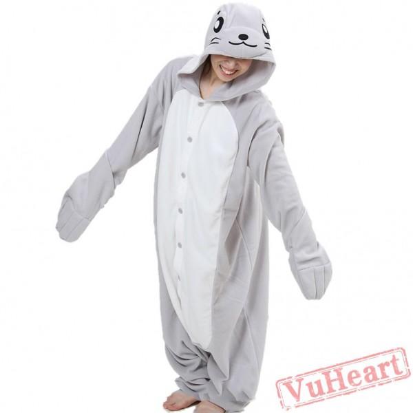 Women & Mens Grey Seal Onesies Kigurumi Pajamas Costumes for Women & Men