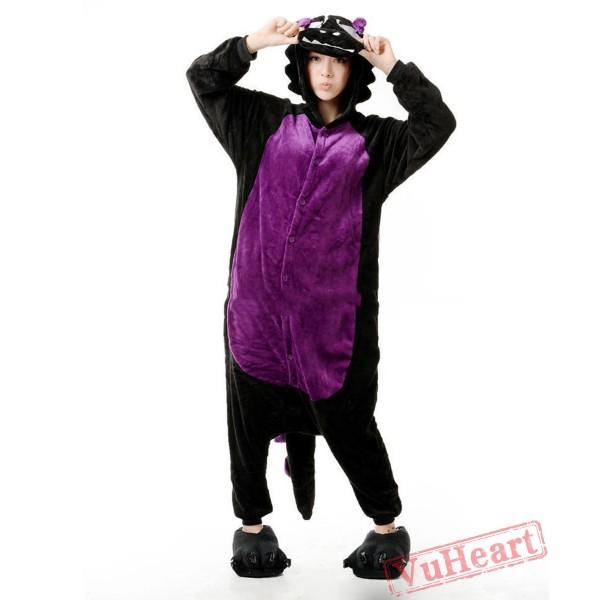 Black Dragon Wolf Kigurumi Onesies Pajamas Costumes for Women & Men