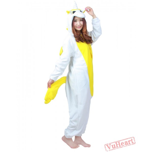 Yellow White Unicorn Kigurumi Onesies Pajamas Costumes for Women & Men