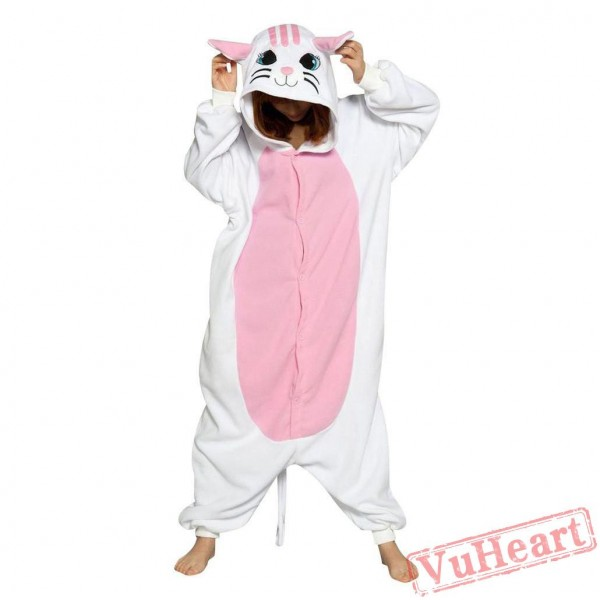 White Cat Kigurumi Onesies Pajamas Costumes for Women & Men