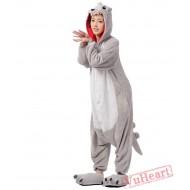 Grey Dinosaur Monster Kigurumi Onesies Pajamas Costumes for Women & Men