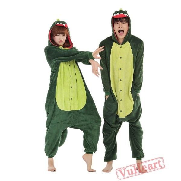 Green Dinosaur Monster Kigurumi Onesies Pajamas Costumes for Women & Men