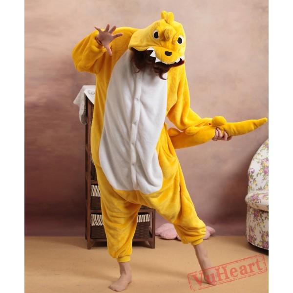 Yellow Dinosaur Kigurumi Onesies Pajamas Costumes for Women & Men