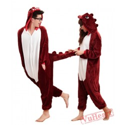 Brown Red Dinosaur Sleep Kigurumi Onesies Pajamas Costumes for Women & Men