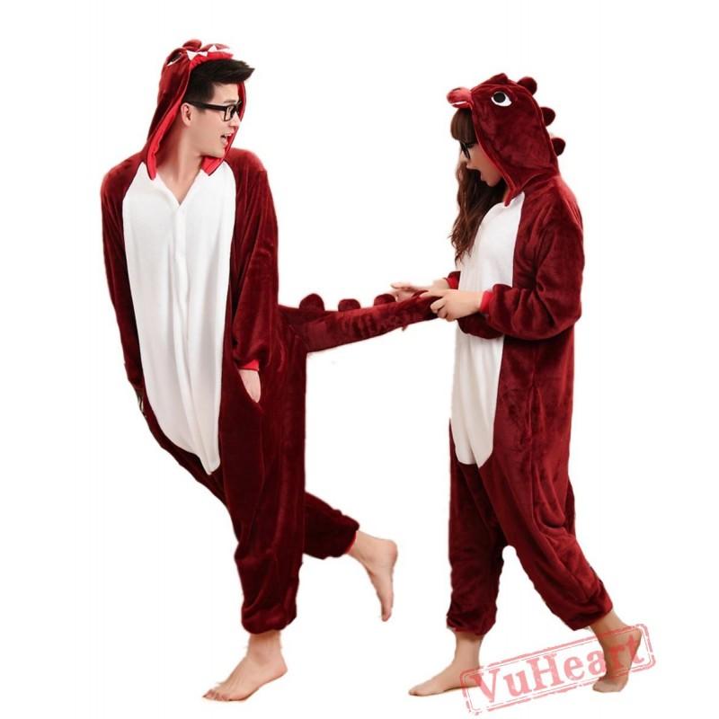 bff96cd21de7 Brown Red Dinosaur Sleep Kigurumi Onesies Pajamas Costumes for Women   Men