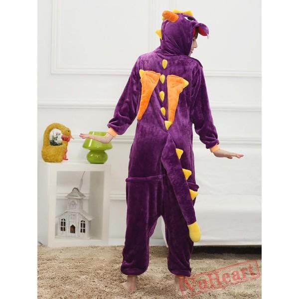 Purple Dragon Kigurumi Onesies Pajamas Costumes for Women & Men