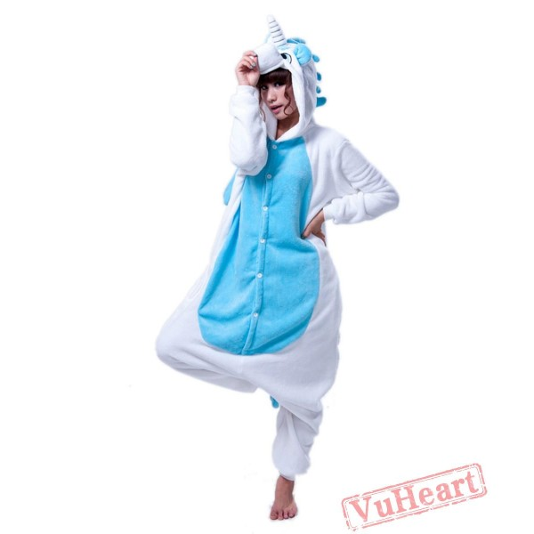 White Blue Unicorn Kigurumi Onesies Pajamas Costumes for Women & Men