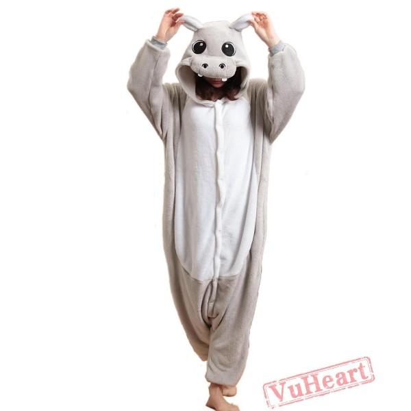 Grey Hippo Kigurumi Onesies Pajamas Costumes for Women & Men