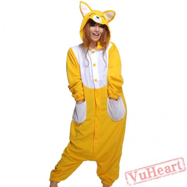 Cartoon Yellow Fox Kigurumi Onesies Pajamas Costumes Hoddies