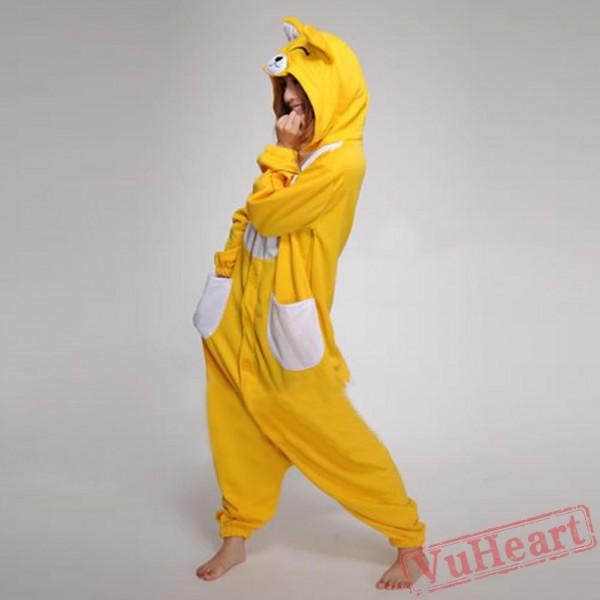 Cartoon Yellow Fox Kigurumi Onesies Pajamas Costumes Hoddies