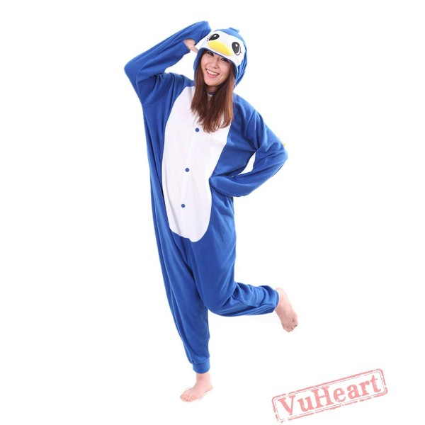 Cute Blue Penguin Kigurumi Onesies Pajamas Costumes for Women & Men