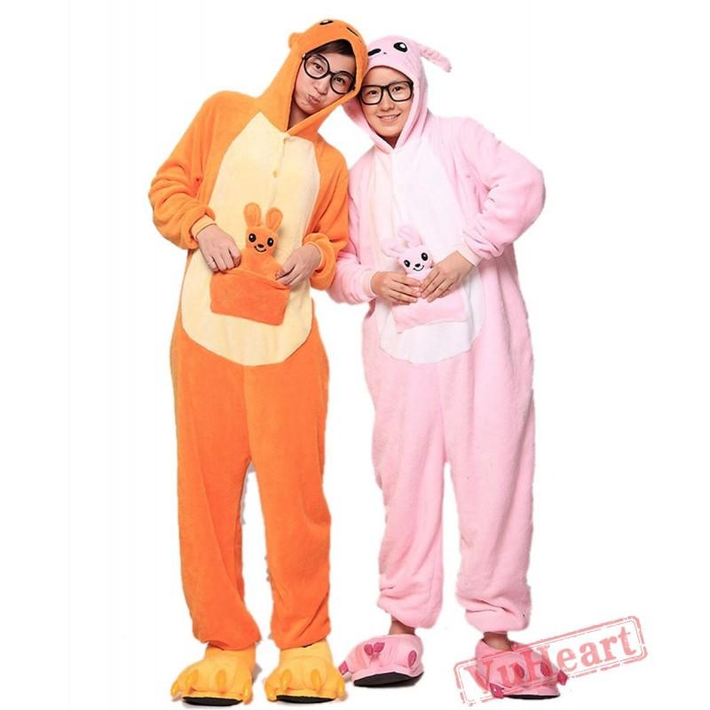 e2c965153209 Pink Kangaroo Kigurumi Onesies Pajamas Costumes for Women   Men