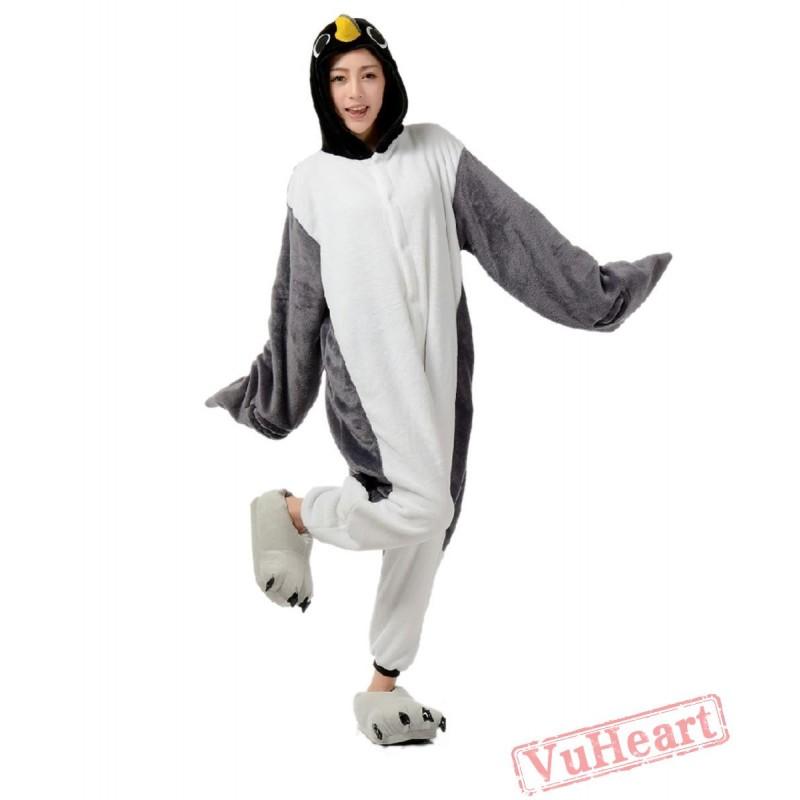 d4bff94d45 Grey Penguin Kigurumi Onesies Pajamas Costumes for Women   Men